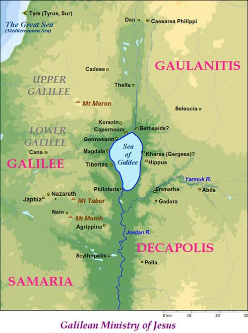 Sea of Galilee Bible Map  Ministry of Jesus in New Testament